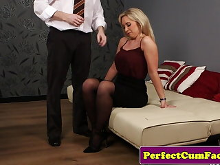 Romanian Brit milf doggystyled before swallowing cum