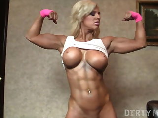 Dirty Talk Fitness Blonde Muscle Barbie Shows Off Her Sexy Pussy