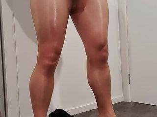 Pantyhose Masturbation in Shiny Tan Hose
