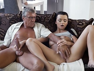 DADDY4K. Erica Black has wild sex with BFs daddy behind his
