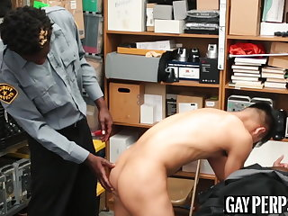 Asian twink thief barebacked by black BBC security guard