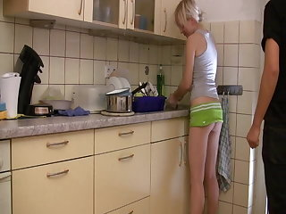 Maid Hot blonde getting creampied from behind while doing dishes