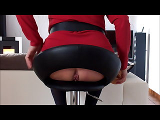 soft wet pussy plays with her dildo on a stool
