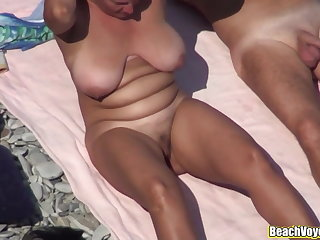 Nudist Horny Wife Sucking cock at the beach spycam voyeur