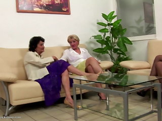 Cheating Old grannies sharing hot babe lesbian sex