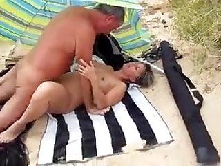Beach Amateur Couple on Beach with Stranger