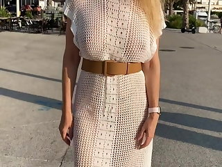 Flashing Showing off naked under my transparent outfits