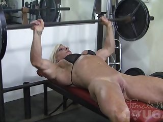 Big Clits Female Bodybuilder Lacey Works Out And Masturbates
